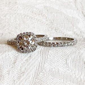2.20 Ct Round Moissanite Halo Wedding Ring Set, S7